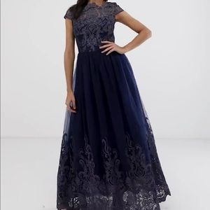 Navy lace prom dress